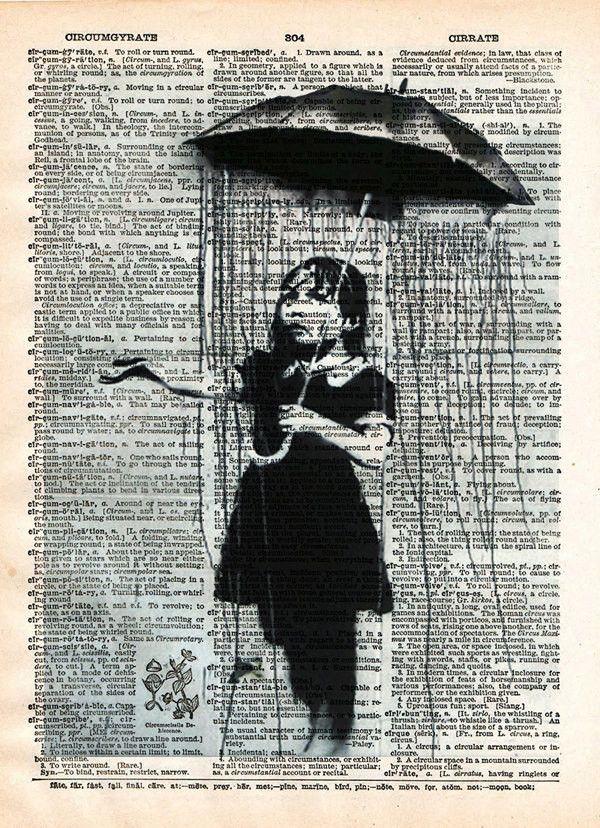 umbrella girl  banksy nola art print  vintage dictionary