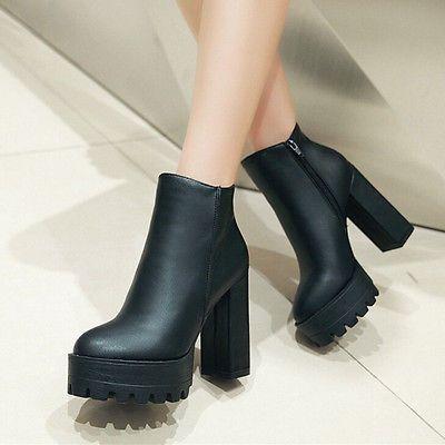 bf0917db2 Mujer Plataforma Alto Tacón Tobillo Botas Botines Faux Cuero Zapatos Negro  Otoño