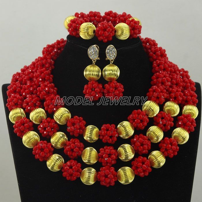 Red Crystal Beads Gold Ball Jewelry Set Nigerian Wedding Bridal ...