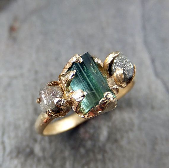 Spectacular Raw blue green Tourmaline Diamond Gold Engagement Ring Wedding Ring Custom One Of a Kind Gemstone