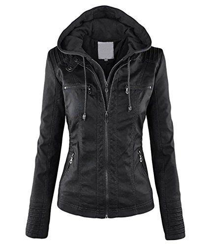 Minetom Automne Hiver Femme Hooded Veste Manteau A Capuche Fermeture Éclair  Chaud Sweats Blouson Coat Noir FR 38  Tweet Manches longues… 9899ebefe188