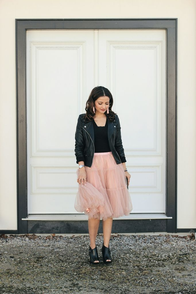 ceb1811593 Pink @chicwish Tutu Ballerina Tulle Skirt, Black Leather Jacket, Chanel  Half-Moon Wallet On a Chain, Black Booties, Bauble Bar Pinata Tassel  Earrings in ...