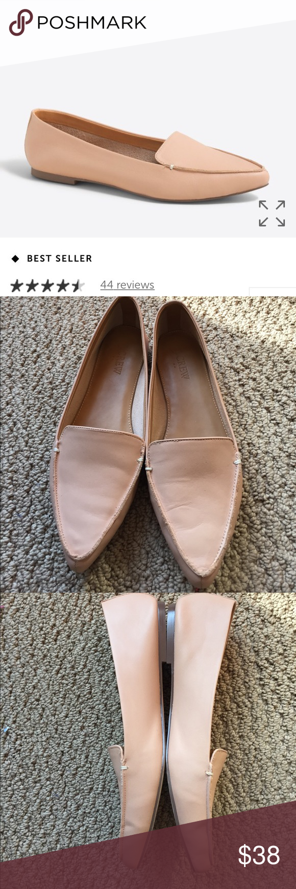 075d7f14749 J Crew Factory Edie Leather Loafer Sz 9 Warm beige color. Worn a few times.  True to size J. Crew Shoes Flats   Loafers
