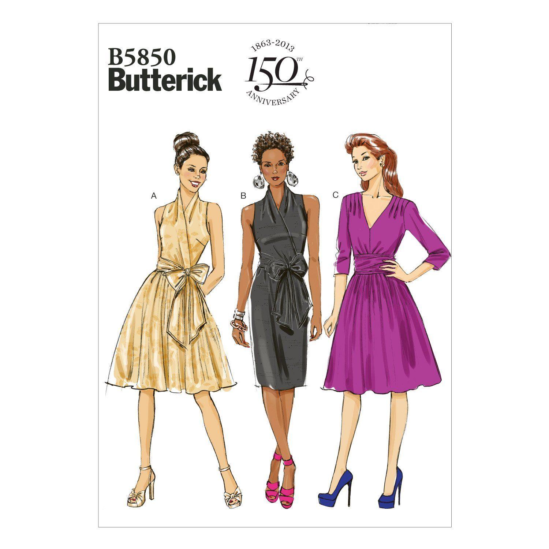 Butterick Schnittmuster 5850 B5 Damen Kleid,Dress,Habiller in 4 ...