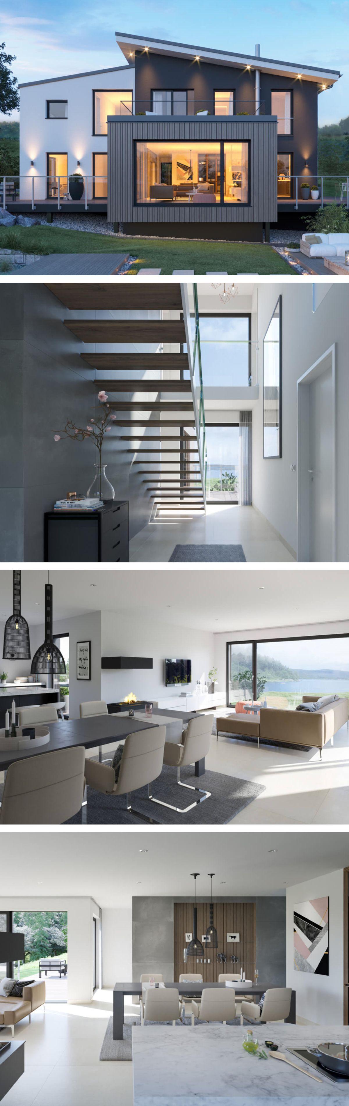 Modernes Design Haus Mit Pultdach Architektur Galerie Einfamilienhaus Bauen Fertighaus Concept M 170 Vi Einfamilienhaus Bauen Einfamilienhaus Hausbau Ideen
