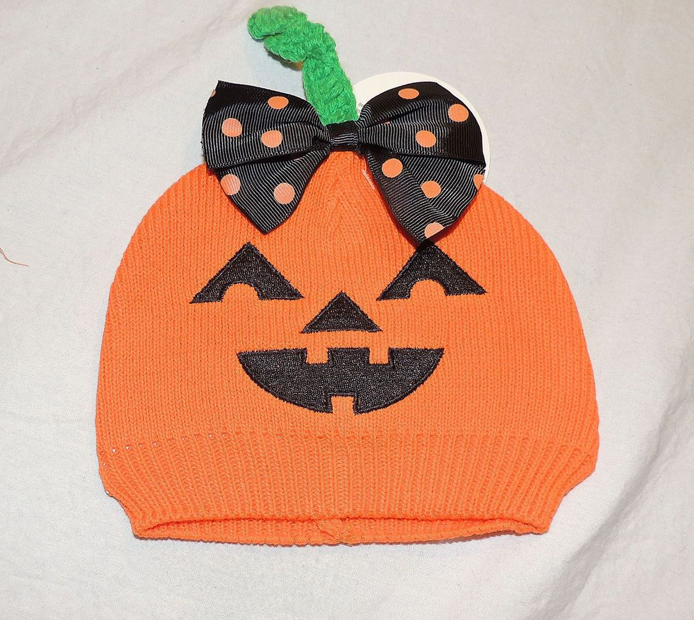 NEW Baby Girl Orange Knit Pumpkin Hat, Sizes 0 to 12 M Halloween Jack O Lantern  #SoDorable