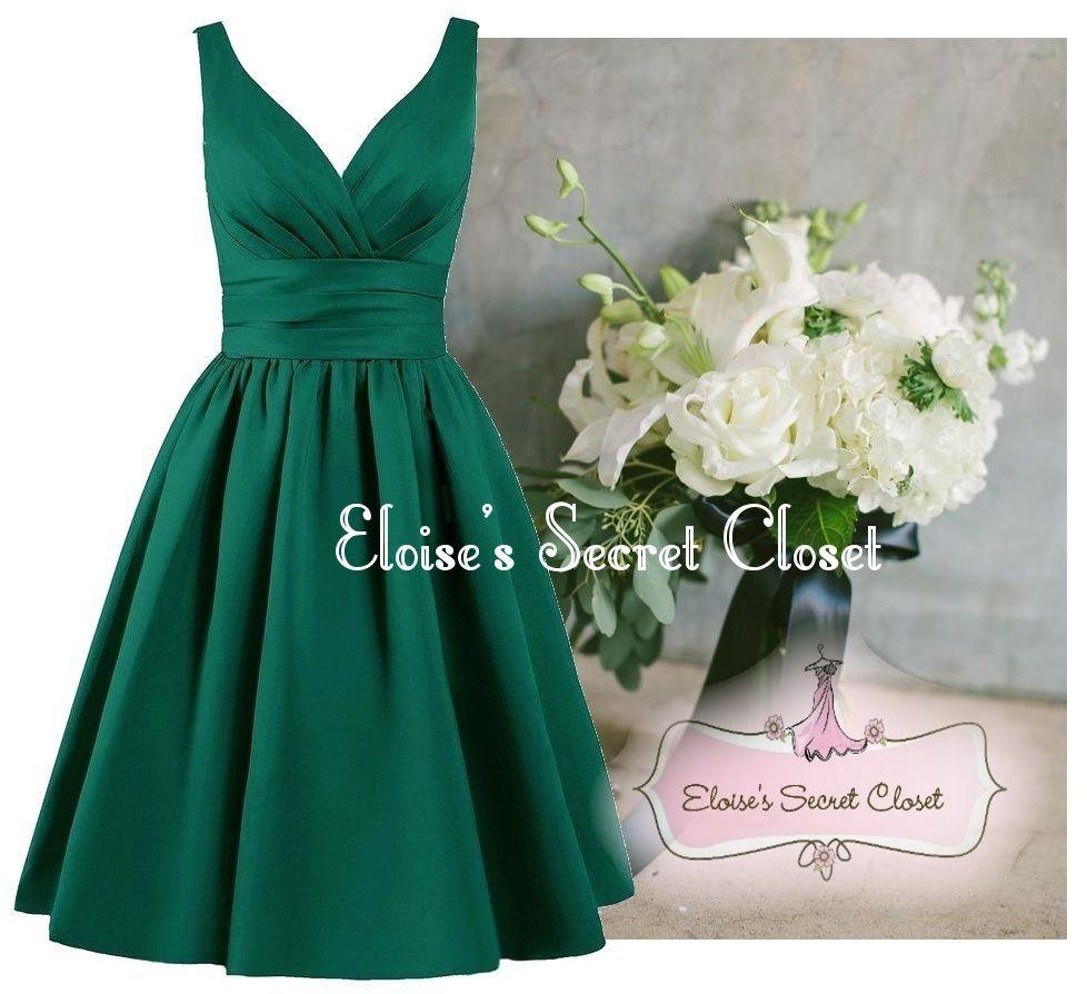 Green dress for wedding party  BRIDGET  Emerald Green Matte Satin  Wedding  Pinterest  Matte