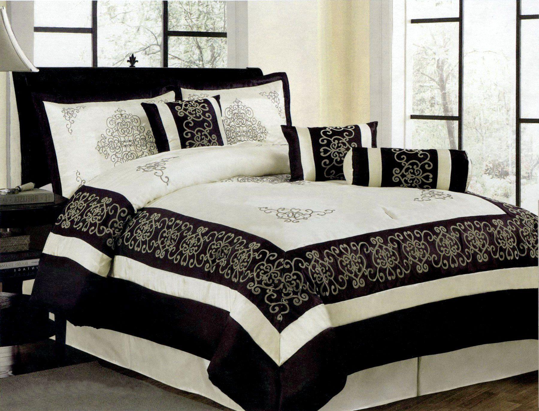 7 Pcs Flocking Royal Floral Comforter Set Bed In A Bag King Black
