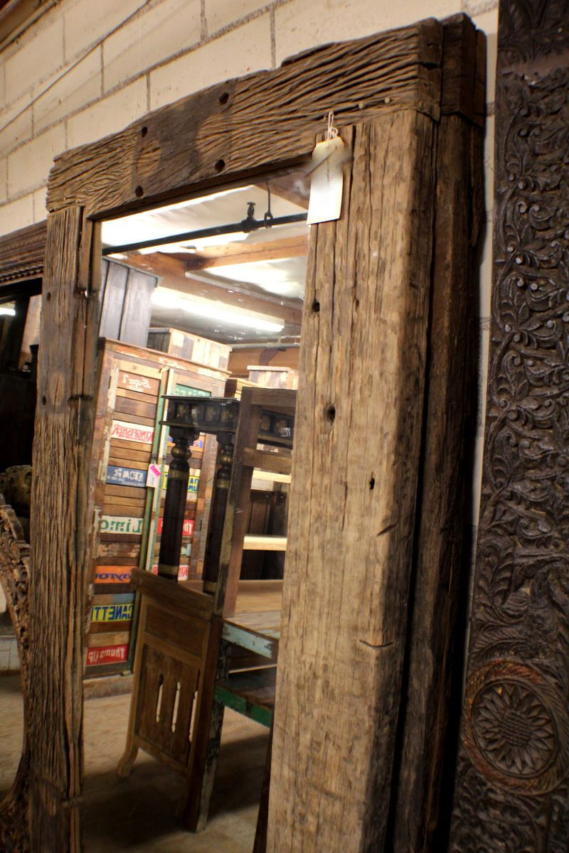 """Wood Framed Wall Mirrors 79"""" vintage wall rustic mirror hand made old wood frame natural"""
