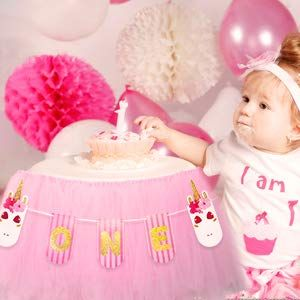 999 Amazon 1st Birthday Decorations For Girls Unicorn ONE Banner With High Chair Tutu Skirt Baby First Party Decoration Ideas Supplies