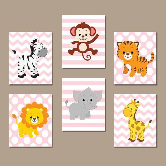 Jungle Wall Art Canvas Or Prints Safari Theme Zoo Animals Nursery Baby Bedroom Decor Artwork Set Of 6