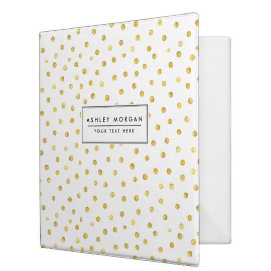 Elegant Gold Foil Confetti Dots Binder