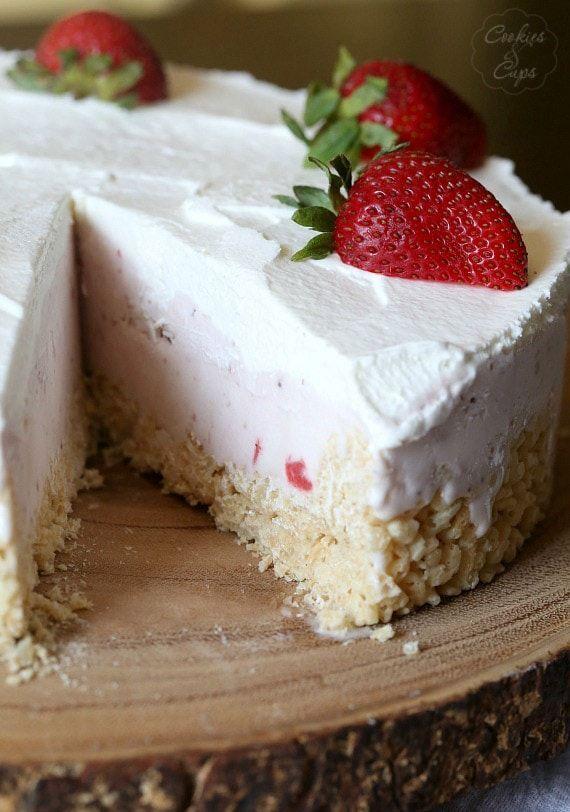 Strawberry Rice Krispie Treat Ice Cream Pie | Ice cream ...