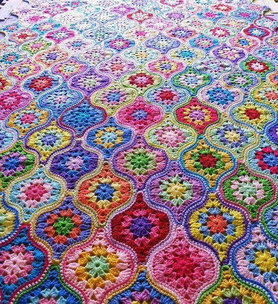 Oval Square Motifee Pattern Granny Squareblanket Granny
