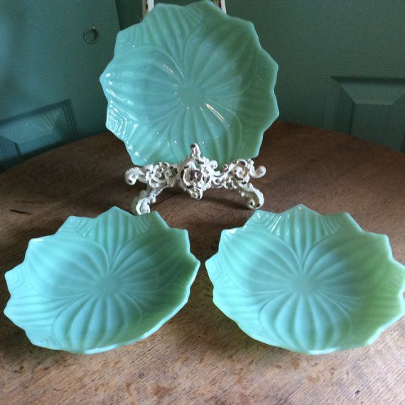 Anchor Hockings Jadeite Lotus Flower Shaped by AlwaysOnTheHunt