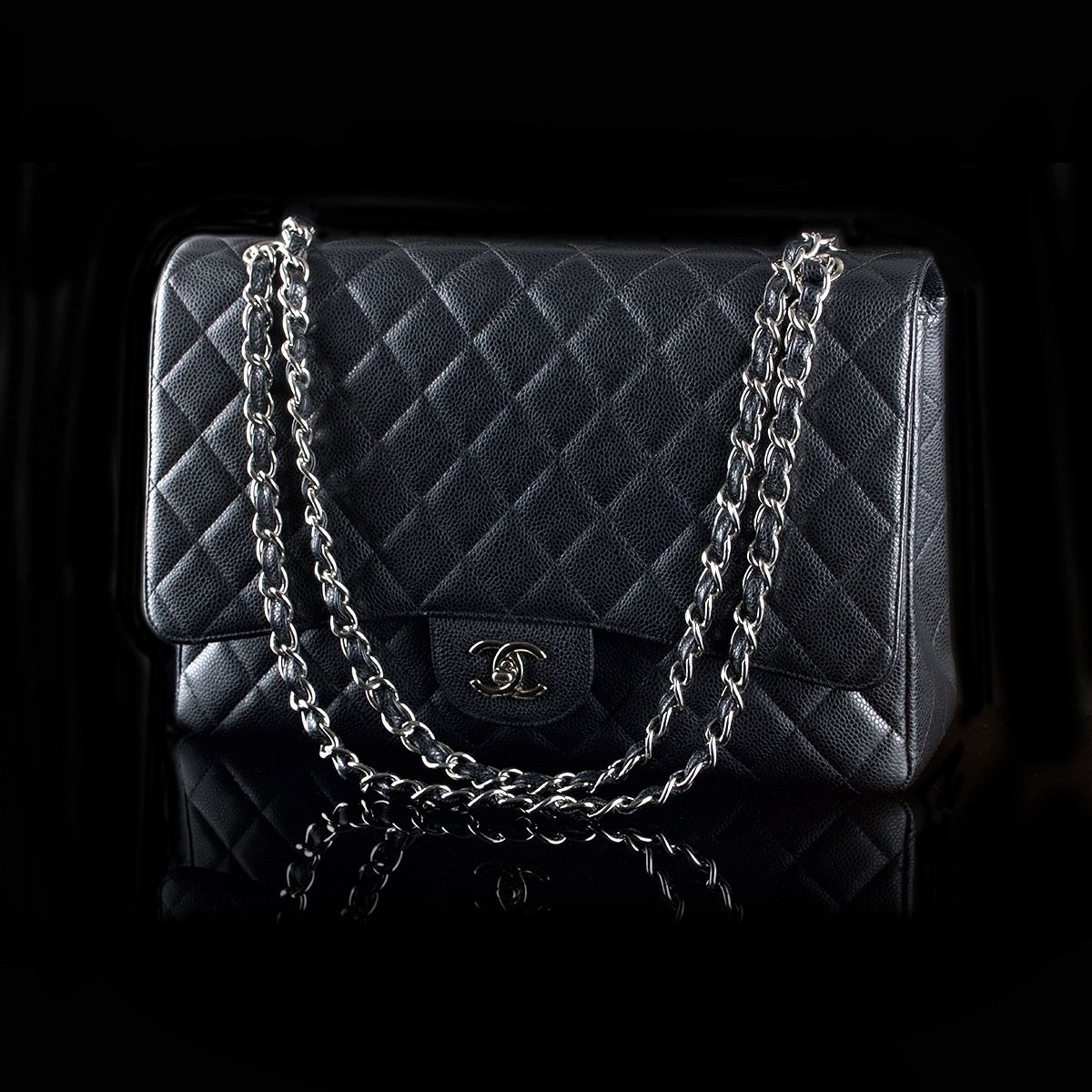 Second Hand Chanel Maxi Black Caviar Skin With Palladium Hardware Sold Bags Luxury Bags Chanel Maxi