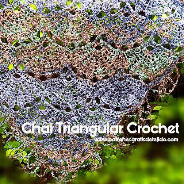 Chal tejido a crochet en punto abanicos grandes | accesorios tejidos ...