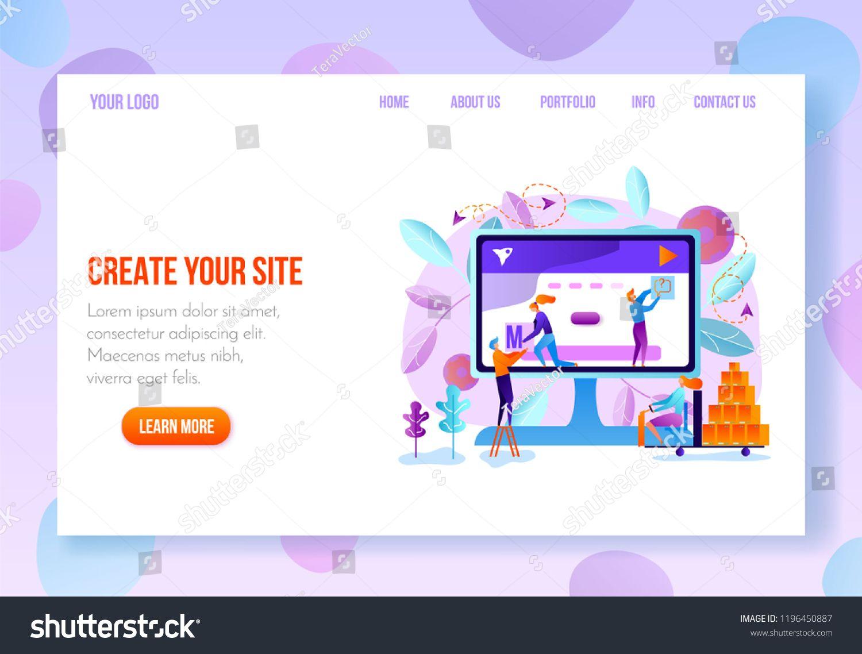 Site Constructor  Website Builder Online Service Page Flat