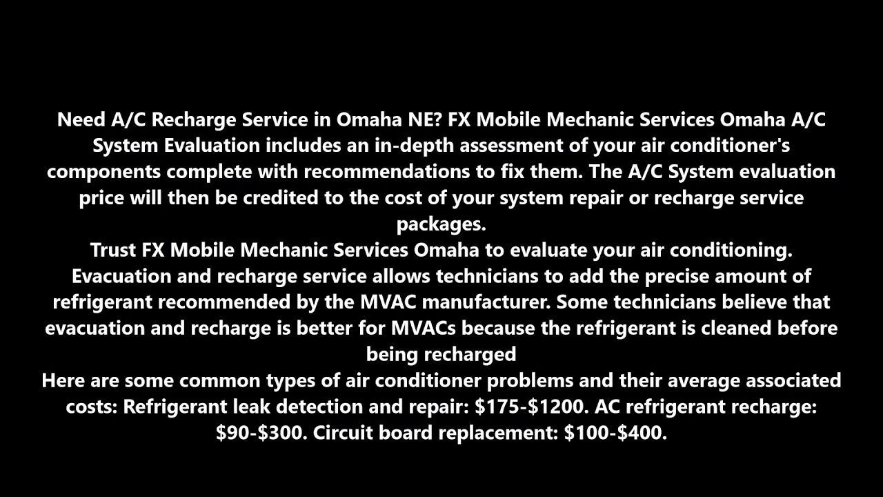 AC Recharge Air Conditioning Recharge Service in Omaha NE