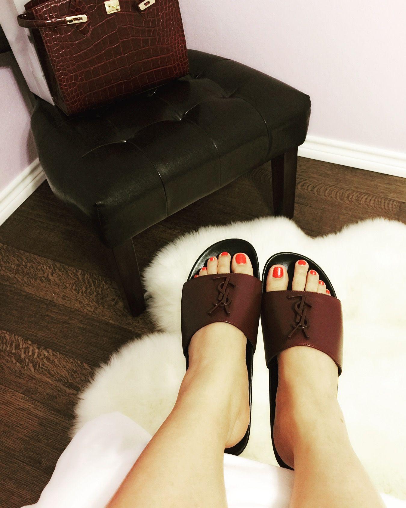 Joan YSL Brooch Slide Sandals | Fashion