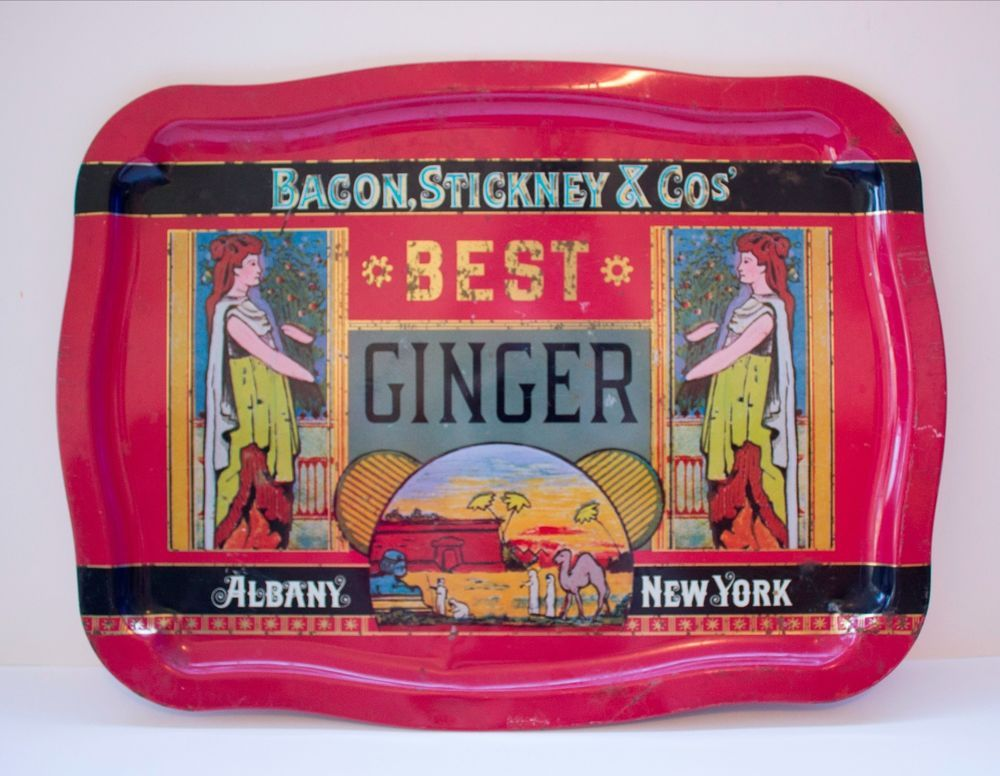 BEST GINGER Red Metal TIN Serving Tray MADE IN ENGLAND REPLICA Harry's Grociery #CaseManufacturingCoInc