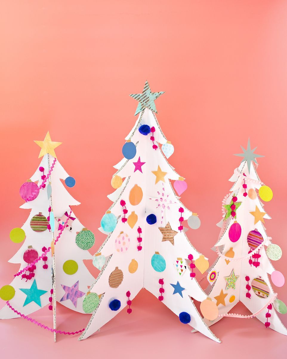 Colorful cardboard christmas trees and diy ornaments the most colorful cardboard christmas trees and diy ornaments fun collaborative art project for kids to make handmade trees and colorful paper ornaments solutioingenieria Choice Image