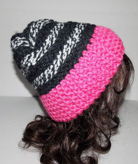 Pony Tail Hand Loom Knitted Hat Ponytail Hole Pink Gray Hats And