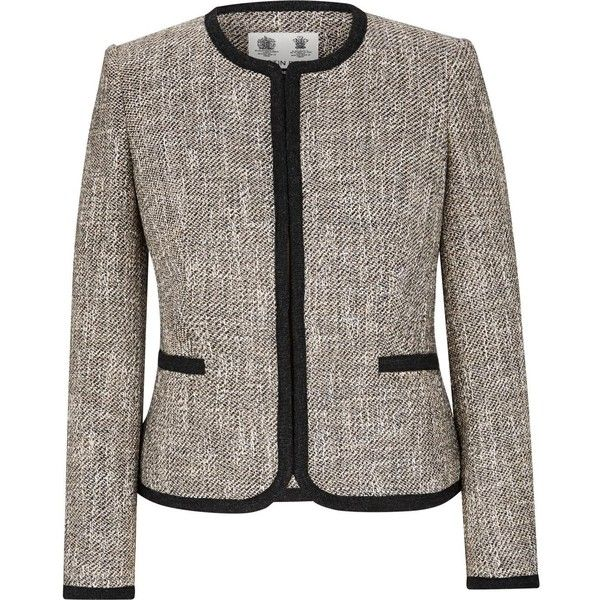 Austin Reed Stone Black Collarless Tweed Jacket 245 Liked On Polyvore Featuring Outerwear Jack Black Long Sleeve Jacket Black Tweed Jacket Tweed Jacket