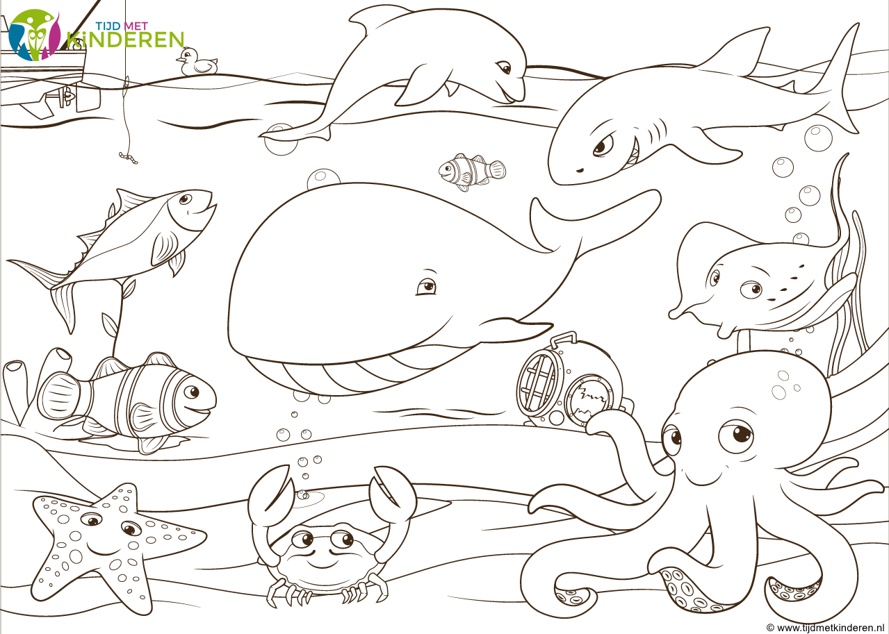 kleurplaat waterdieren met dolfijn en walvis png 1279 215 913