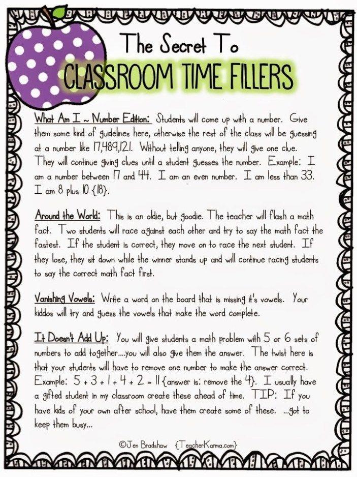 Time filler activities for teachers. TeacherKarma.com