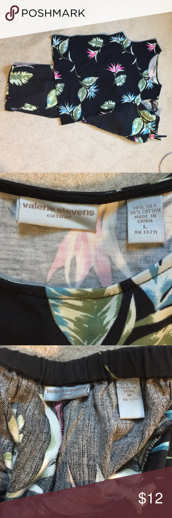 Calling all tropical 🌴 vacationers Perfect for that cruise or trip to Hawaii matching tank and Capris pants with elastic waistband. Top is L but fits more like a M. Valerie Stevens Other