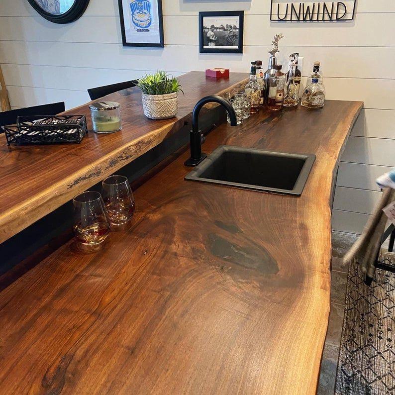 Live Edge Bar Top Walnut Bar Top Live Edge Wood Wood Etsy In 2020 Basement Bar Designs Home Bar Designs Diy Home Bar