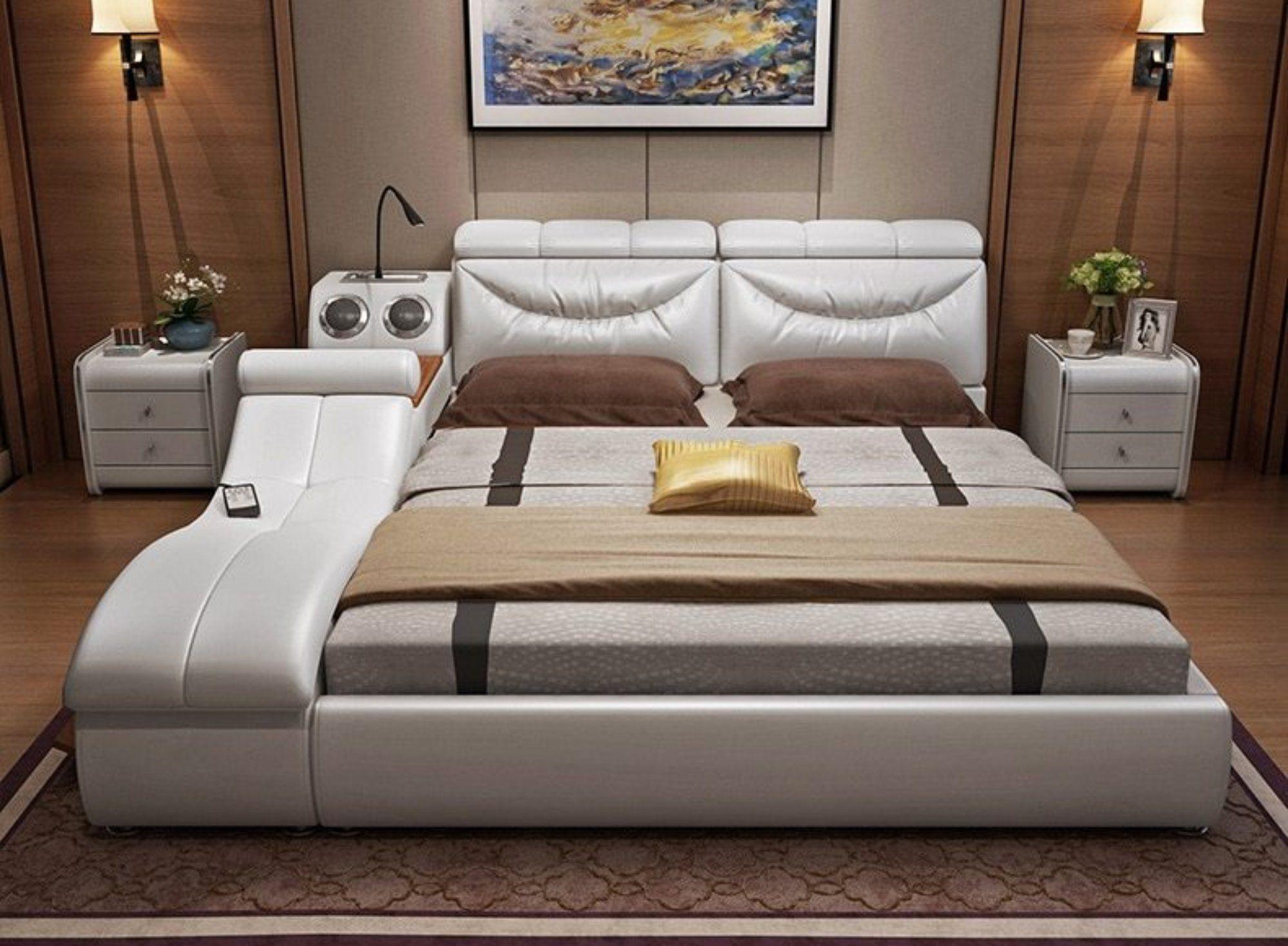 Leather Bed Frame Soft Beds Massager Storage Safe Speaker Led