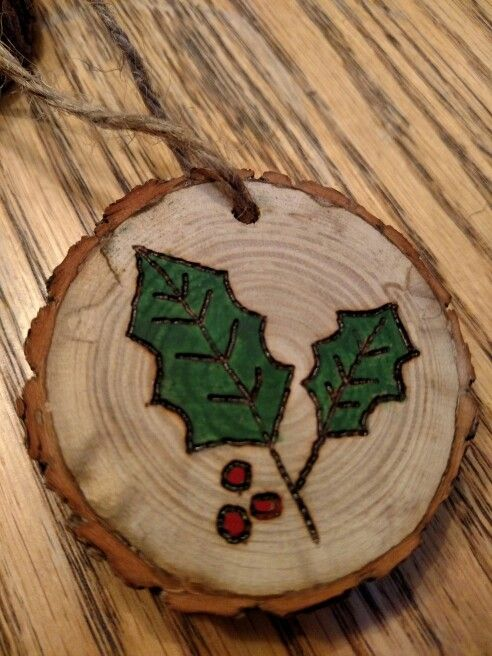 Rustic Holly Leaves Wood Burned Christmas Ornament Christmas Wood Crafts Wood Slice Ornament Diy Christmas Ornaments