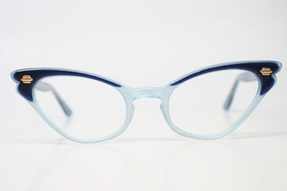 9a9ca5ff01 Two tone blue cat eye glasses vintage by VintageOpticalShop