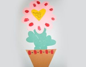 Thumbody Loves You Flower  Elementary-age students will love creating this Valentine's Day craft.