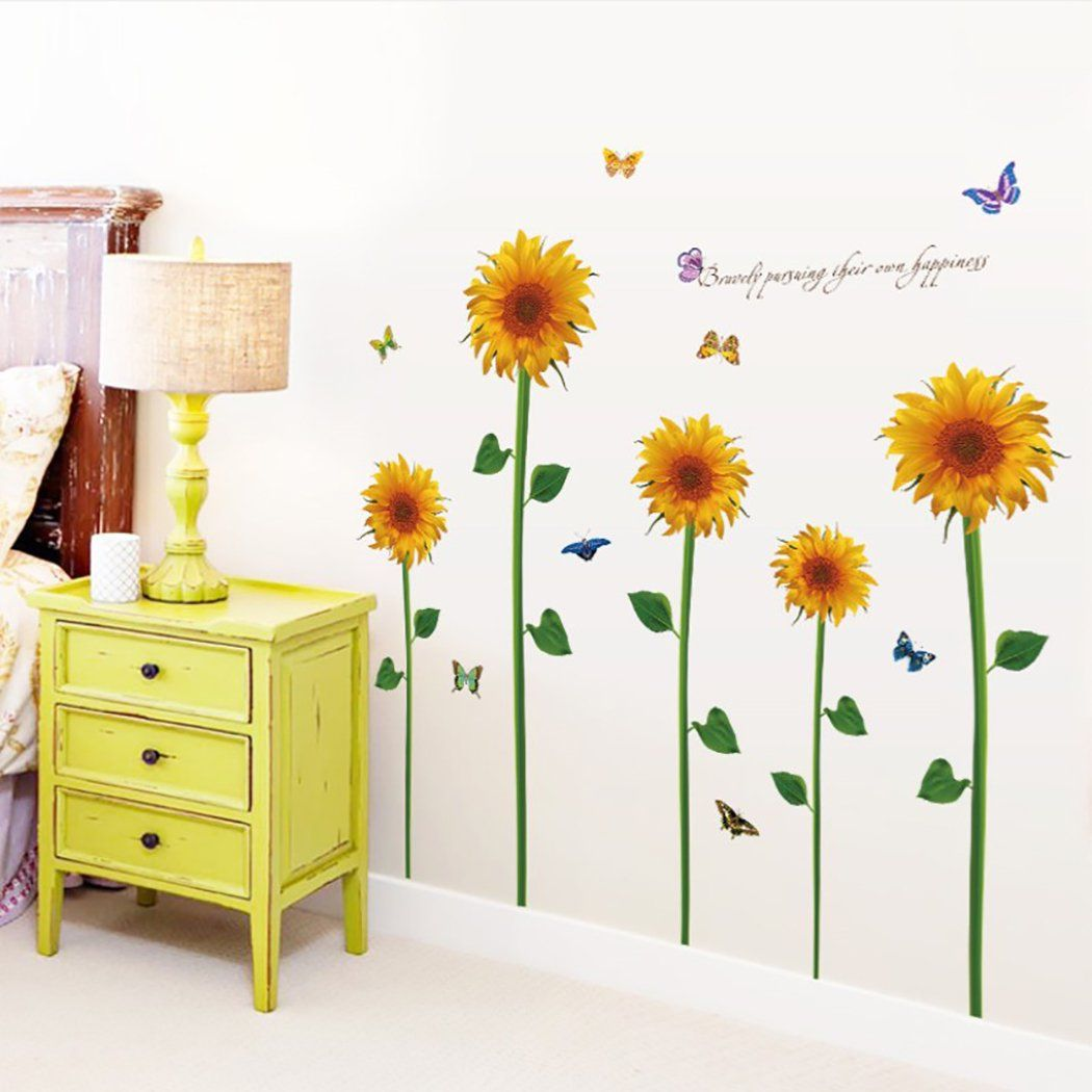 Wall Sticker Removable Sunflower Pattern Room Sticker Wall Decor Sticker Walmart Com Walmart Com Wall Stickers Bedroom Wall Decor Stickers Room Stickers