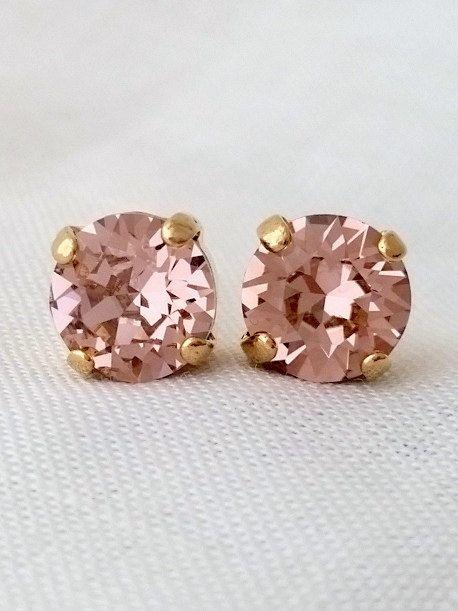 Blush pink earrings | Blush crystal stud earrings by EldorTinaJewelry on Etsy | http://etsy.me/1K9ulm8