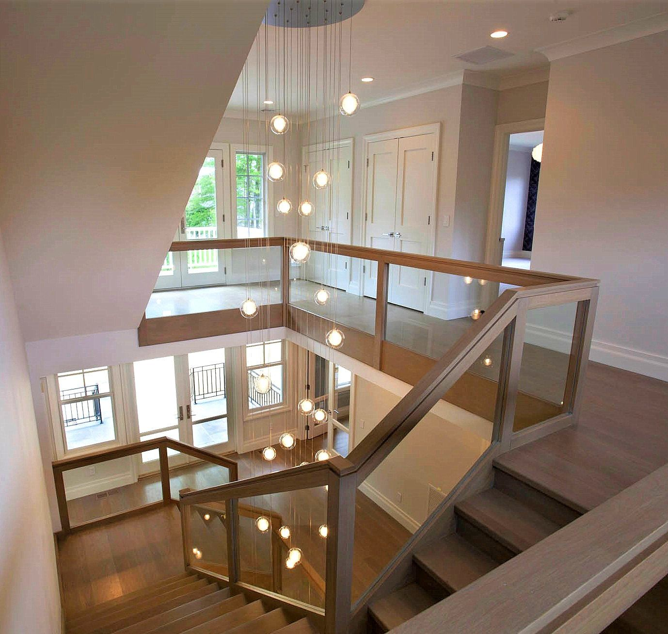 Foyer Two Story Chandelier Reflection Clear Glass Pendant
