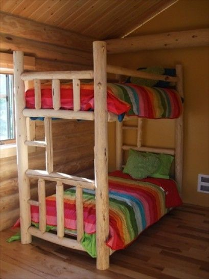 Twin over twin log bunk bed my boys would love this bed for Log loft bed