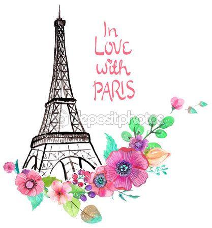 Torre Eiffel con acuarelas flores — Ilustración de stock #69513871 ...