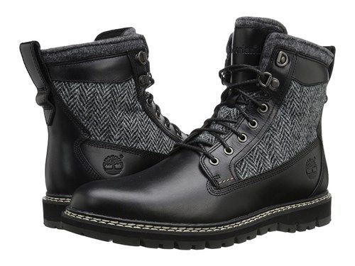 Shop Timberland Britton Hill 6 Warm Lined Leather And Fabric Boot Black Box  Leather Harris Tweed. Mens Winter BootsBlack ...