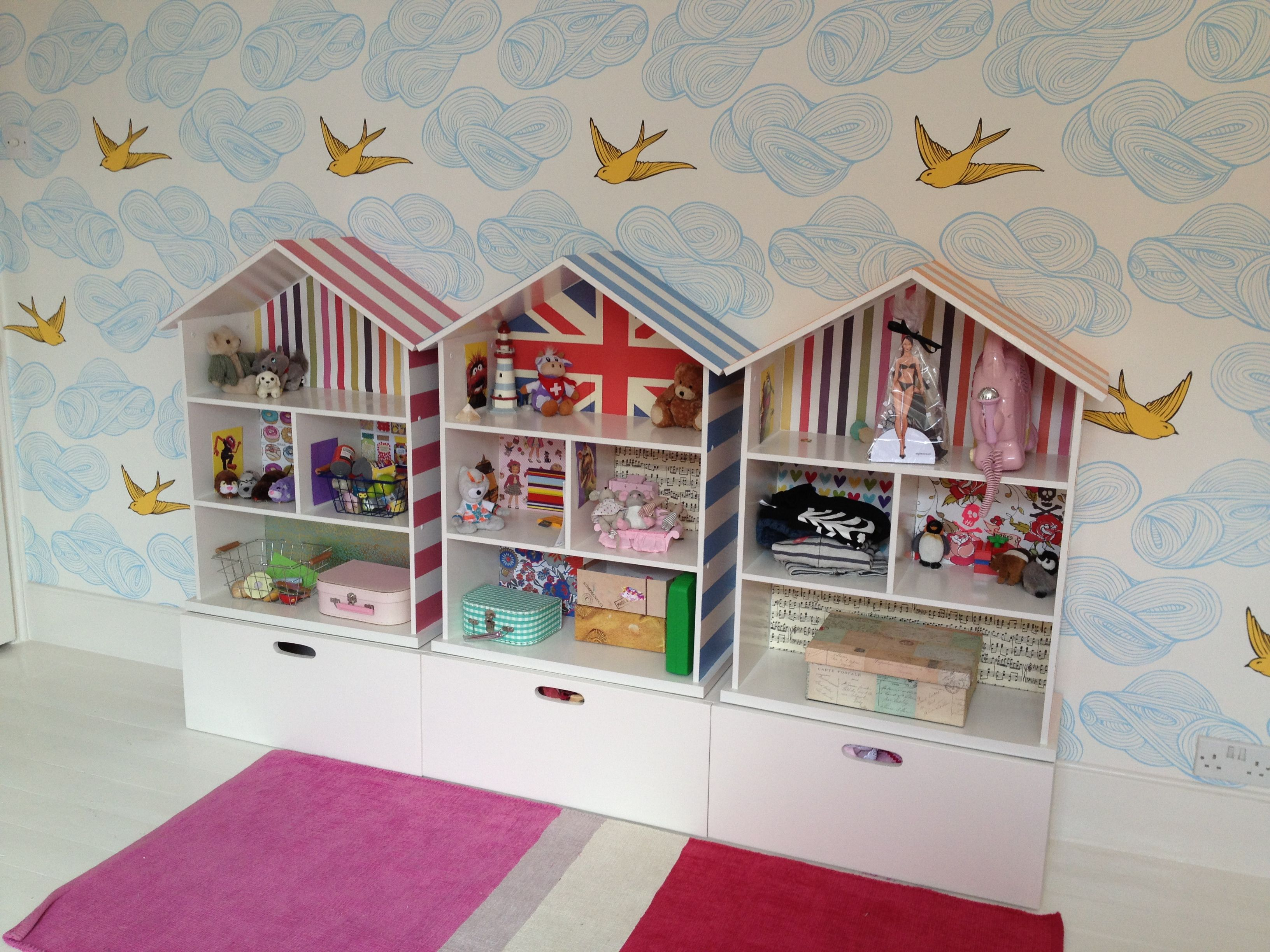 Dolls House shelves from Argos painted and decorated to look like