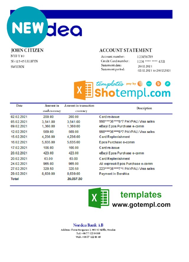 Sweden Nordea Bank Statement Easy To Fill Template In Xls And Pdf File Format In 2021 Bank Statement Statement Template Statement