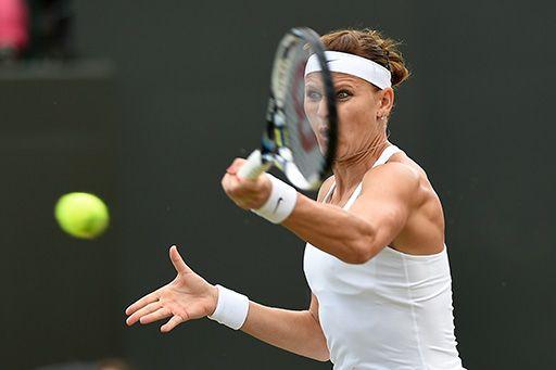 Lucia Safarova hits a forehand