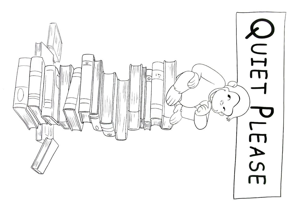 Curious George At The Library Printable Coloring Book Page