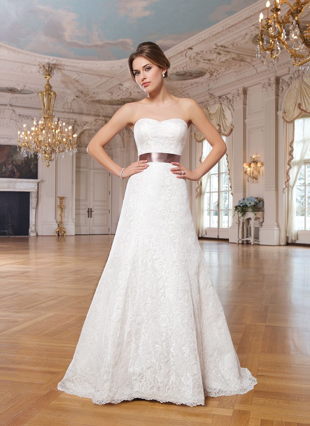 Lillian West lillian west style 6342 Corded all over lace A-line dress accentuated with a sweetheart neckline.