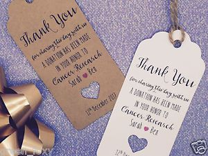 Personalised Charity Donation Gift Tag Wedding Favour Guest Label Ebay More Favors
