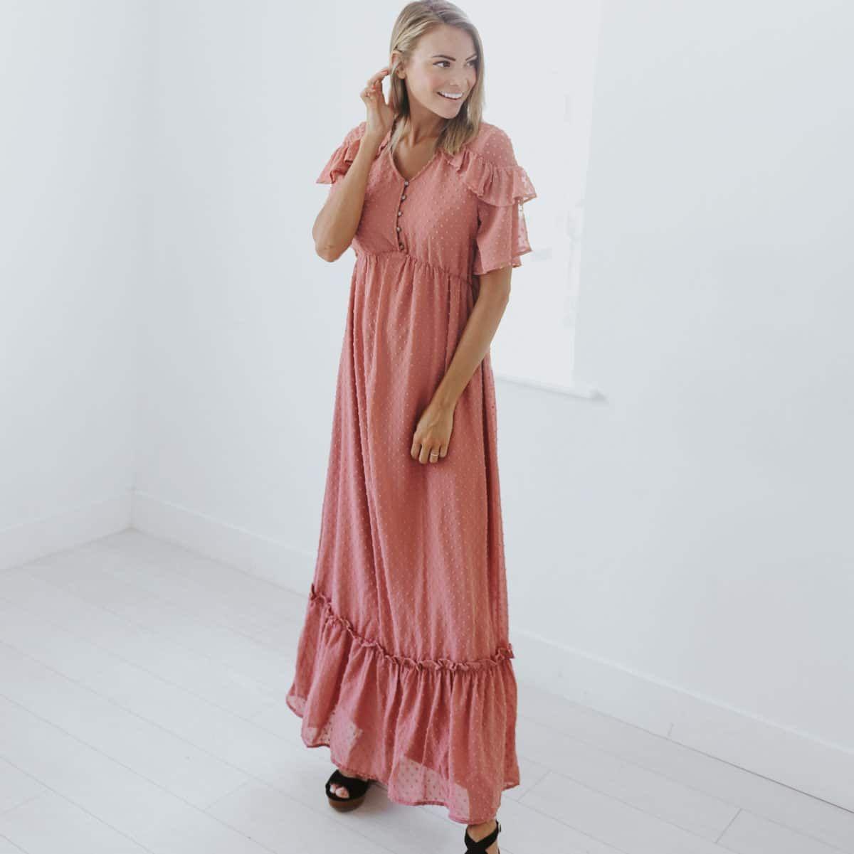 Priscella Swiss Dot Maxi Dress Journey Five Dressy Fashion Dresses Maxi Dress [ 1201 x 1200 Pixel ]