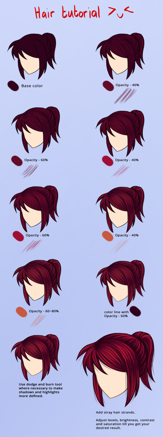 How I Color Red Hair By Noodles919 Anime Red Hair Anime Hair Color Digital Painting Tutorials